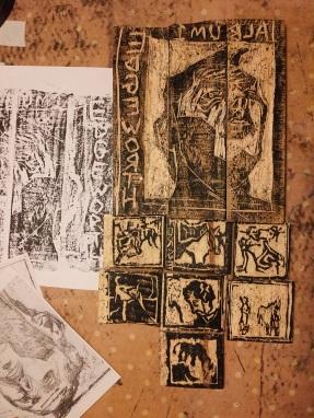 Edgeworth inked wood carving.