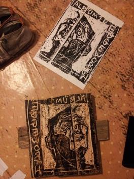 Edgeworth album cover and inked wood block