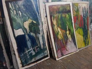 Oil on cardboard paintings by Edgeworth, Heckel's Horse studio.
