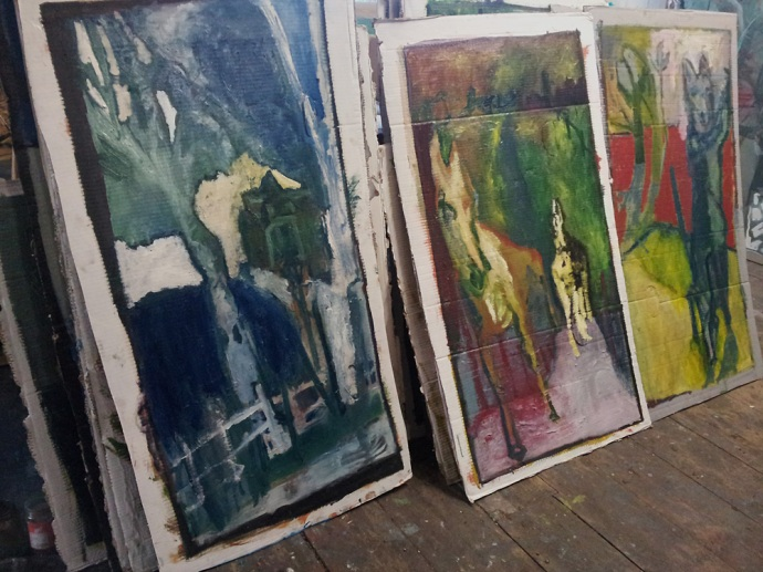 Oil on cardboard paintings by Edgeworth, Heckel's Horse studio.
