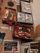 Wood block prints.