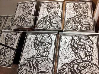 Portrait wood block prints.