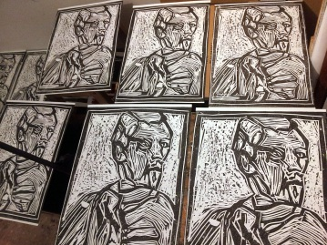 Portrait wood block prints.