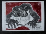 1/25 Self-portrait, crouched forward knelt down, black & red on white. Wood block print.
