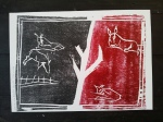 1/25 Goats near a tree, black & red on white.