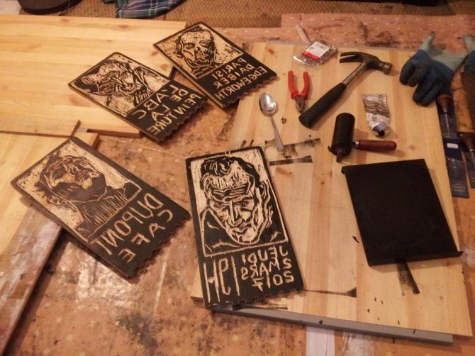 """Woodcut block prints for """"L'ABC de la peinture"""" art exhibition at Dupont Cafe Bibliotheque in Paris"""