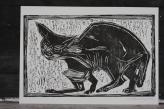 8/25 Cat, black on white, Wood block print.