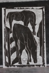 9/25 Horses grazing, black on white, Wood block print.