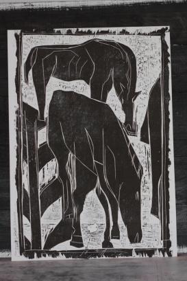 9/25 Horses grazing, black on white, Wood block print.