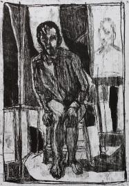 Self-portrait sat by a painting