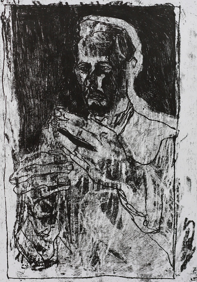 Self-portrait holding a carving knife 2