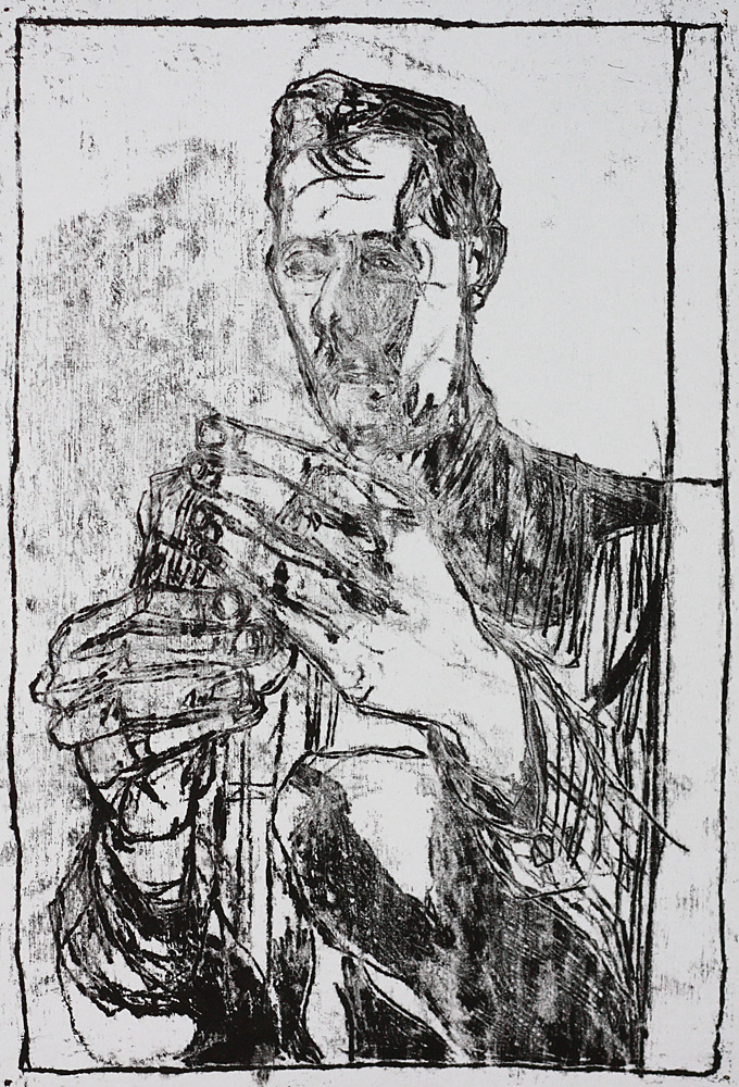 Self-portrait holding a carving knife 1
