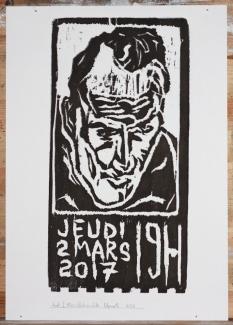 6/25 Jeudi 2 Mars, black on white. Wood block print.