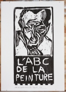 6/25 L'ABC de la peinture, black on white. Wood block print.