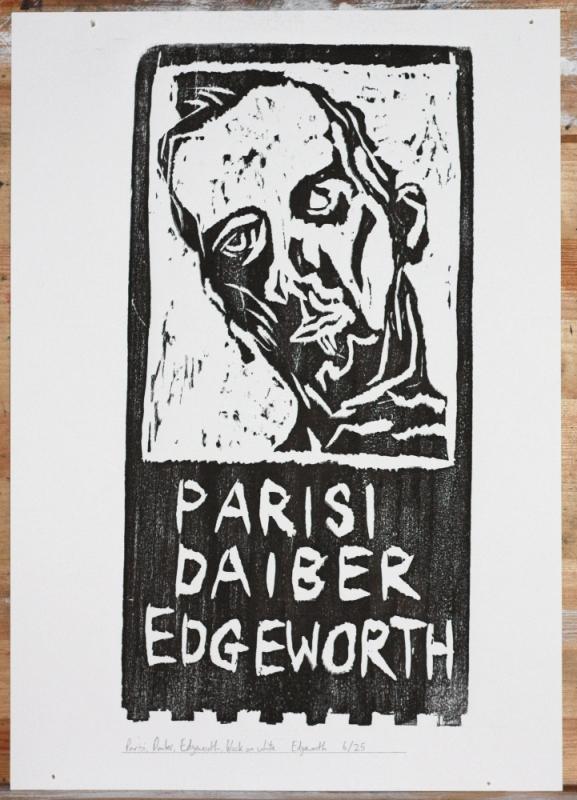 6/25 Parisi, Daiber, Edgeworth, black on white. Wood block print.