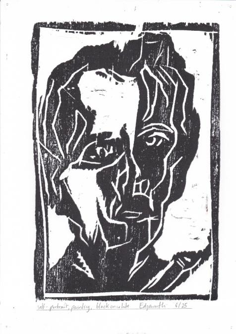 6/25 Self-portrait, painting, black on white. Wood block print.