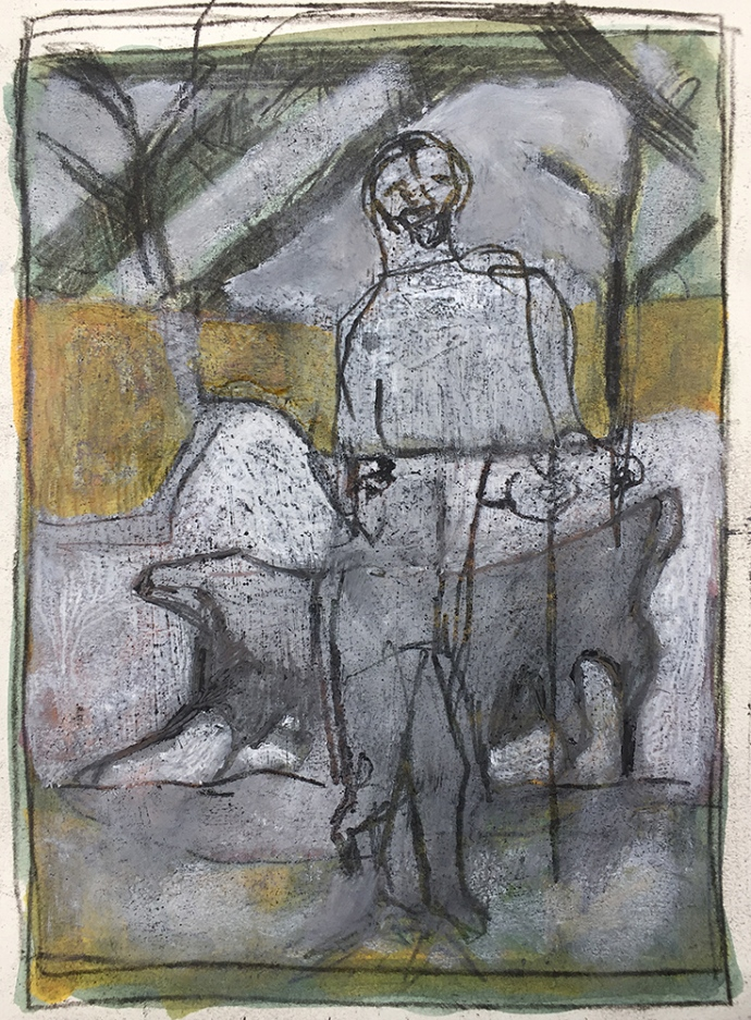 Shepherd walking his dog