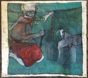 Shepherd with two sheep