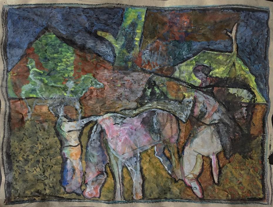 Horsemen by a tree