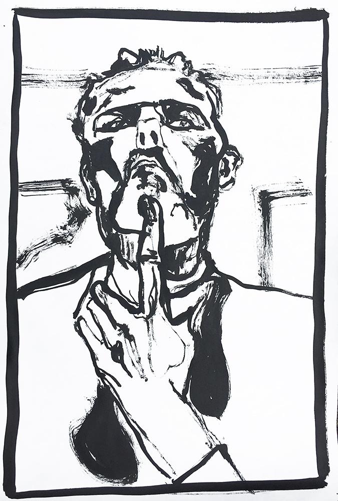 Self-portrait pushing bottom lip