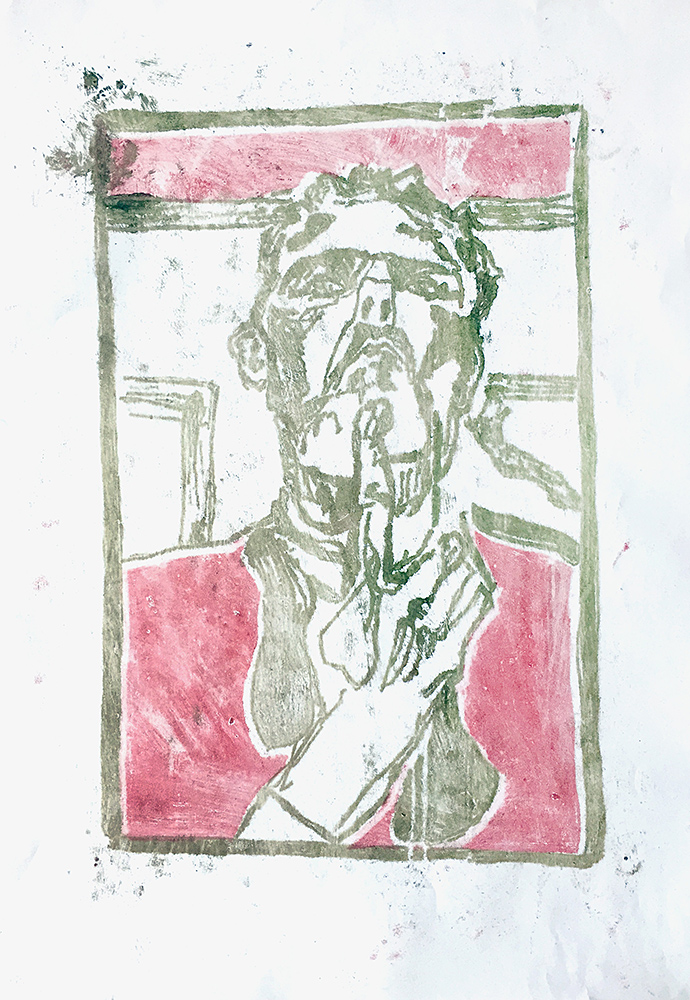 Self-portrait pushing bottom lip 1