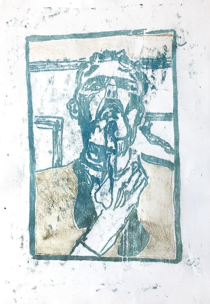 Self-portrait pushing bottom lip 2