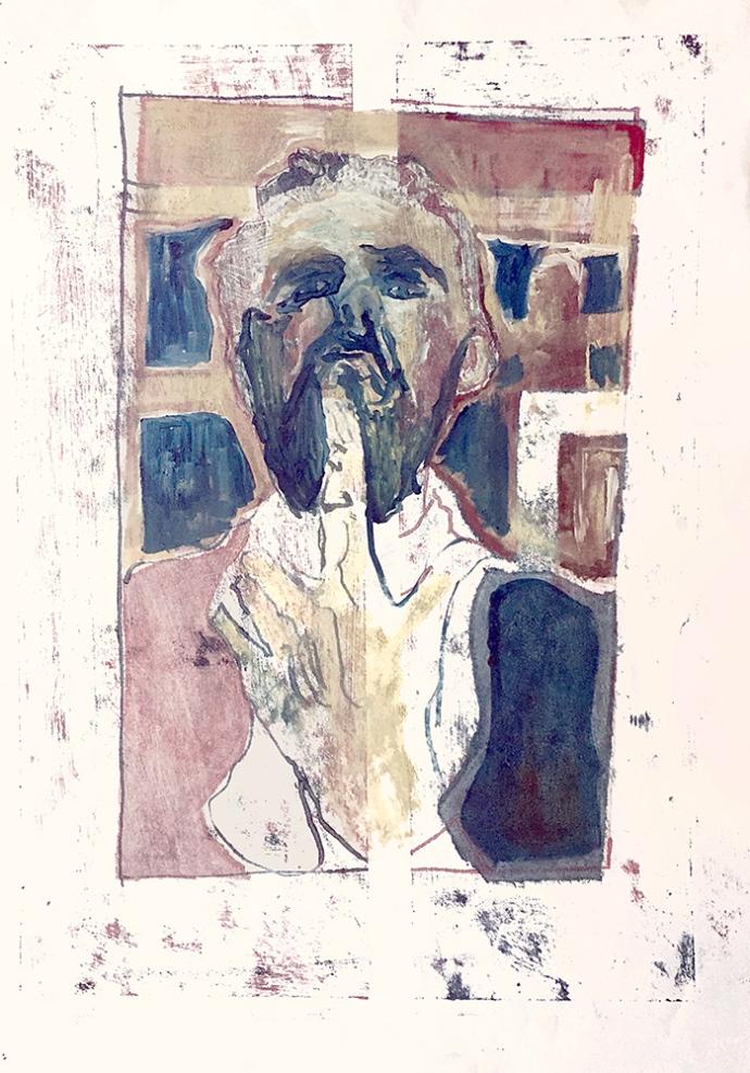 Self-portrait pushing bottom lip 7