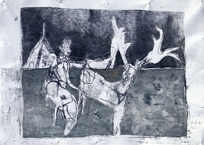 Stag and horseman 1