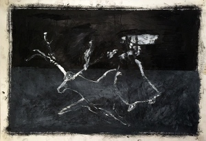 Woman chasing a stag