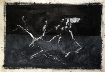 Woman chasing stag