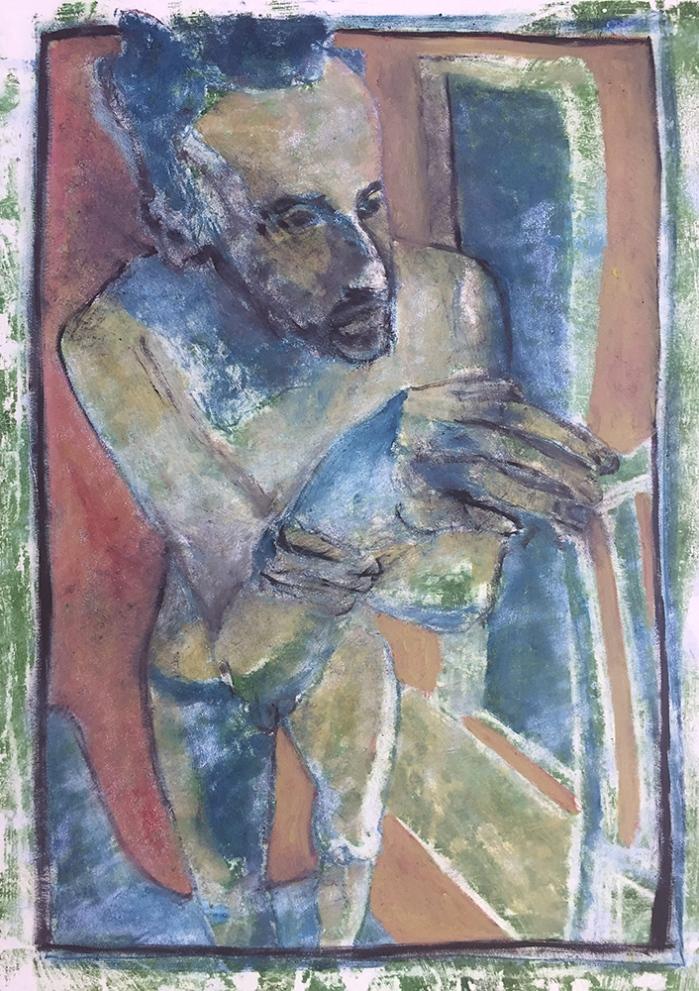 Self-portrait holding wrist 1