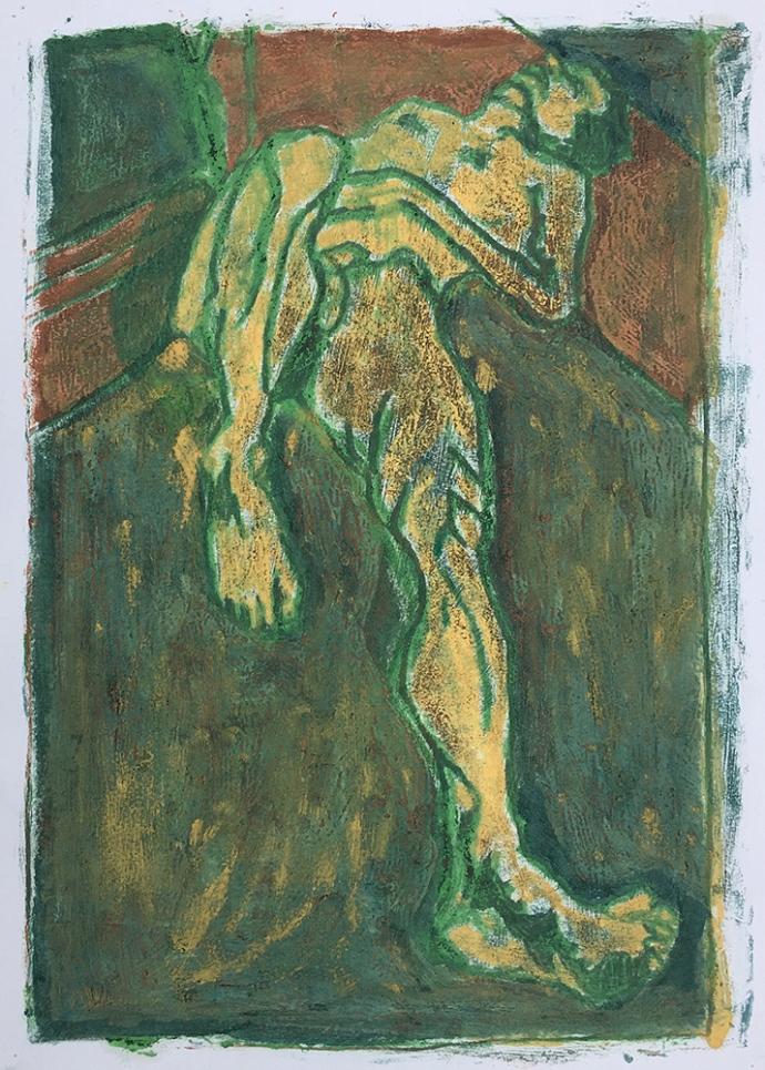 Self-portrait lying down 2