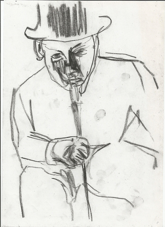Man with a hat and cane