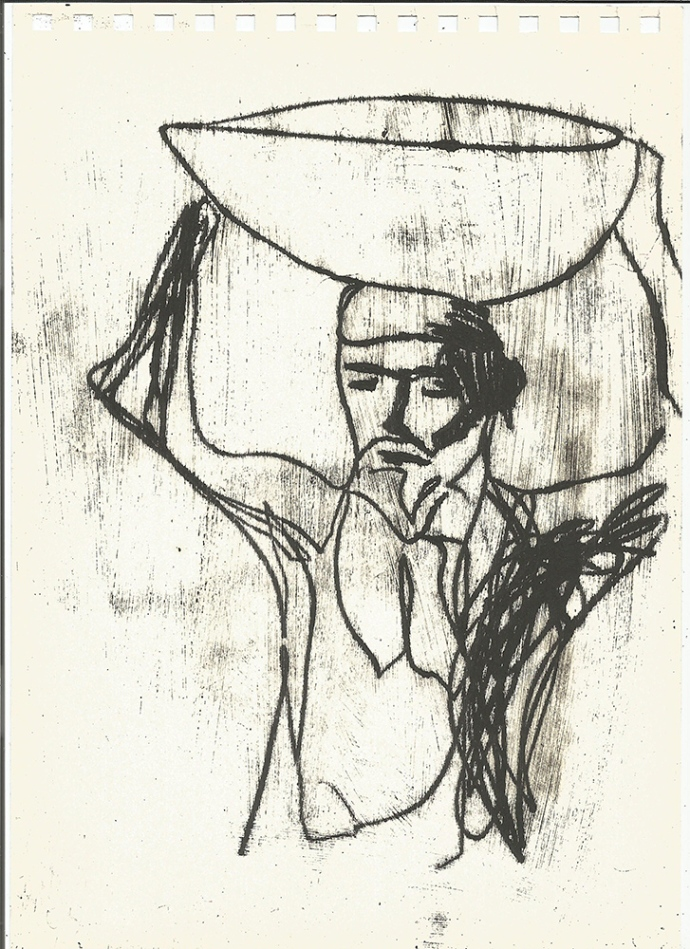 Man carrying a bowl
