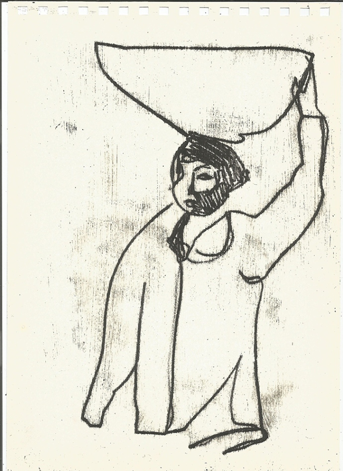 Woman carrying a bowl 1