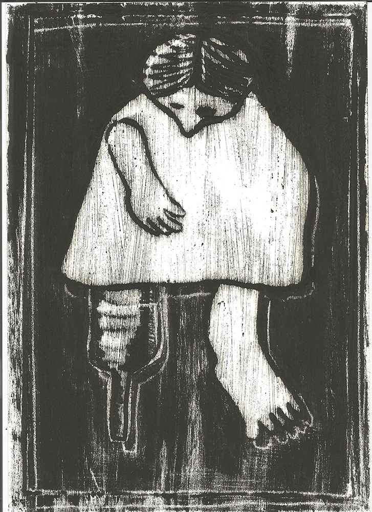 Woman with a wooden leg