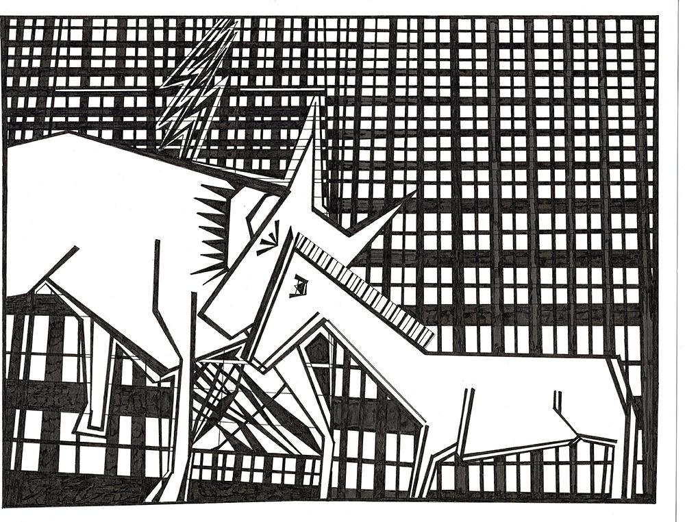 Lightning dog and horse