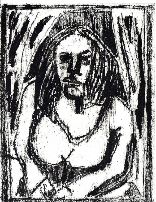 Woman between curtains