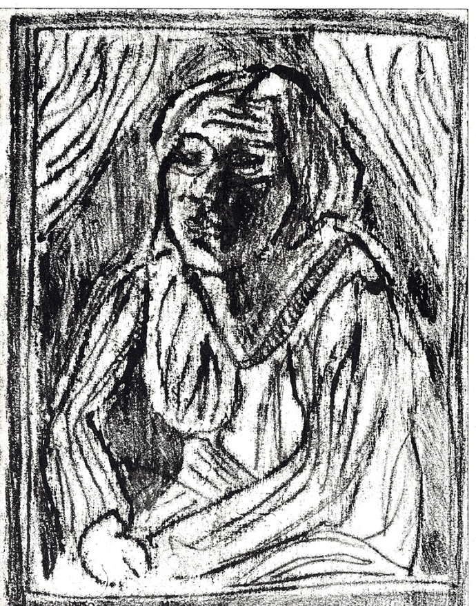 Woman between curtains 2