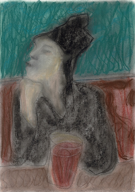 Woman with a drink