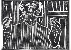 Self-portrait, striped shirt, black
