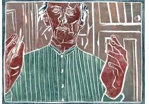 Self-portrait, striped shirt, colour 2