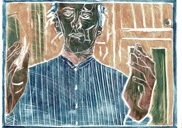 Self-portrait, striped shirt, colour 3