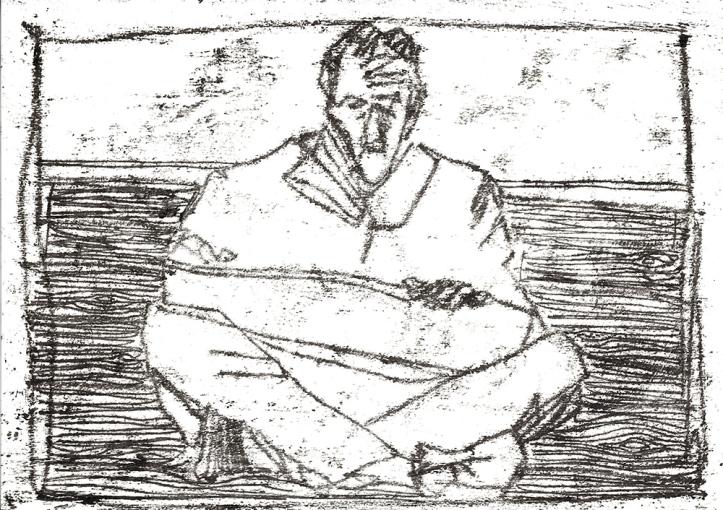 Self-portrait, sat drawing 1