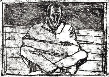 Self-portrait, sat drawing 2