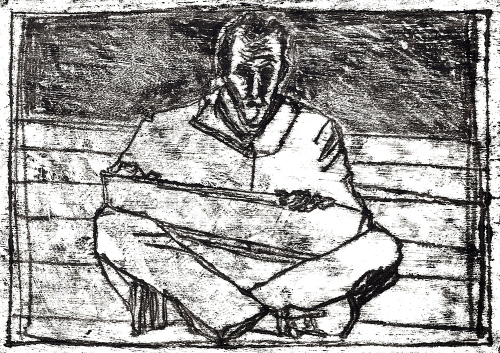 Self-portrait, sat drawing 2