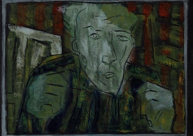 Self-portrait, striped shirt, closed hands, night 1