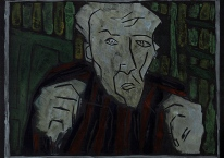 Self-portrait, striped shirt, closed hands, night 2