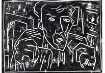 Self-portrait, striped shirt, closed hands, black