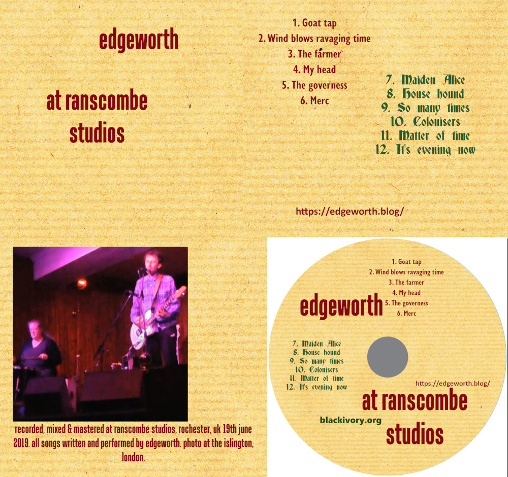 New album – recorded at Ranscombe Studios, Rochester